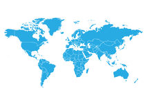 在蓝色颜色的世界地图在白色背景 高细节空白政治地图 与被标记的化合物的传染媒介例证 库存例证