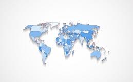 在蓝色颜色的世界地图 库存例证