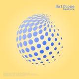 在蓝色颜色的抽象半音球形和补全上色背景 免版税图库摄影