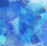 在蓝色颜色的抽象水彩背景 库存图片