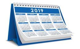 在蓝色颜色的日历桌面2019年 图库摄影