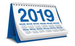 在蓝色颜色的日历桌面2019年 免版税图库摄影