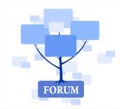 在蓝色颜色的论坛结构树 免版税库存图片