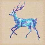 在蓝色颜色的马赛克鹿圣诞节的设计 图库摄影