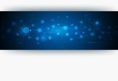 在蓝色颜色背景的抽象分子结构 库存照片