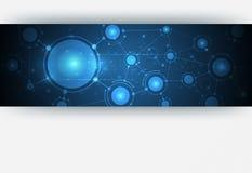 在蓝色颜色背景的抽象分子结构 免版税库存照片