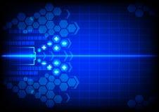 在蓝色颜色背景的抽象电池能量 免版税图库摄影