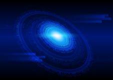 在蓝色,高科技科学幻想小说网际空间题材概念的技术抽象背景 免版税库存照片