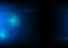 在蓝色,高科技科学幻想小说网际空间题材概念, 10的技术抽象背景被说明的eps 免版税库存照片