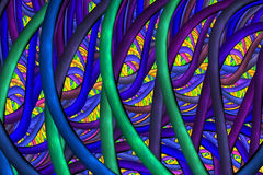 在蓝色,紫色,黄色和绿色的抽象光滑的马赛克装饰品 免版税库存图片