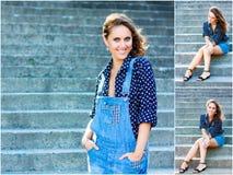 在蓝色总之打扮的美丽的女孩 外部画象前 库存照片