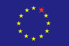 在蓝色水平的长方形形成了十二个黄色星圈子其中之一是注销的红色 免版税图库摄影