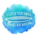 在蓝色水彩的水橇板白色商标 免版税库存图片