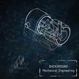 在蓝色黑板的机械工程图画 库存照片