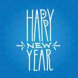 在蓝色backgr的新年快乐手拉的白色线性题字 向量例证
