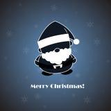 在蓝色backgroun的传染媒介圣诞老人 免版税库存照片