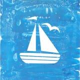 在蓝色handpainting的背景的白色船 图库摄影
