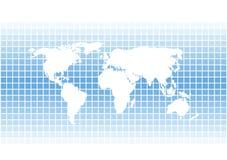 在蓝色sqares背景的现代传染媒介世界地图剪影 库存图片