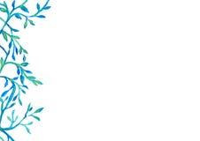 在蓝绿色水彩绘画的抽象登山人框架在白色背景 库存图片