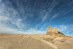 在蓬塔Caldanu的热那亚人的塔在Lumio附近在可西嘉岛 免版税库存图片