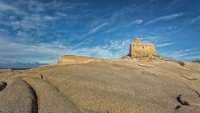 在蓬塔Caldanu的热那亚人的塔在Lumio附近在可西嘉岛 库存图片