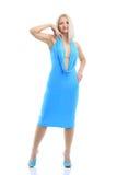在蔚蓝色礼服 免版税库存图片