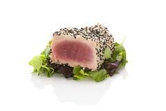 在蔬菜沙拉的可口金枪鱼排 免版税库存照片