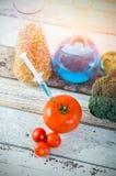 在蕃茄的注射器 概念食物基因上修改了 免版税库存图片