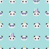 在薄菏的Kawaii熊猫亚洲样式 库存例证