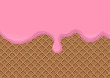 在薄酥饼背景熔化的草莓奶油 r 库存例证