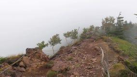 在薄雾和雾的山远足 股票录像