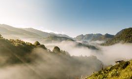 在薄雾的太阳上升中央谷地 库存照片