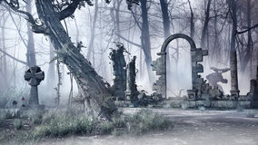 在薄雾的废墟 库存图片