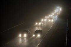 在薄雾的护卫舰 免版税图库摄影