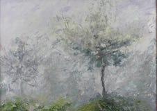 在薄雾,油画的抽象树 免版税库存照片