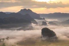 在薄雾Phu lang钾国家公园中的不可思议的日出 库存图片
