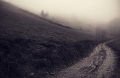 在薄雾Sacelului登上外面的奥秘 免版税库存照片