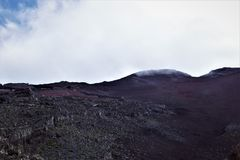 在藤实,富士山,日本峰顶的看法  免版税库存照片