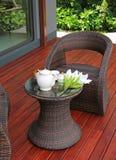 在藤条家具的茶具 图库摄影