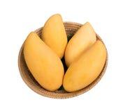 在藤条篮子的金黄芒果 免版税图库摄影