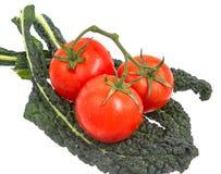 在藤的蕃茄坐绿色无头甘蓝离开 库存图片