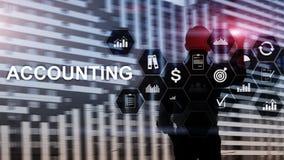 在虚屏上的会计、企业和财务概念 免版税库存照片