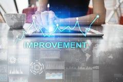 在虚屏上的改善图表 企业和技术概念 库存照片