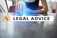 在虚屏上的法律建议ext 咨询 律师 律师,企业和财务概念 免版税库存图片
