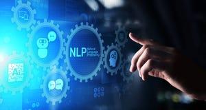 在虚屏上的NLP自然语言处理认知计算技术概念 库存图片