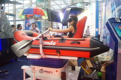 在虚拟现实陈列的浮动小船 免版税库存照片