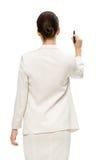 在虚构的屏幕上的女实业家文字 免版税库存图片
