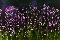 在虚构颜色的淡紫色反对夜空 库存图片
