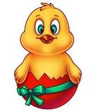 在蛋壳的桃红色复活节鸡 库存图片