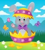 在蛋壳题材图象2的复活节兔子 免版税库存照片